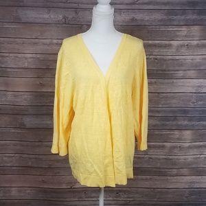 Christopher&Banks Soft Yellow 3/4 Sweater Cardigan